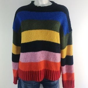 UO   STRIPED CHUNKY WOOL BLEND PULLOVER  SWEATER